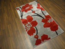 Modern Rug Aprox 5x2ft6 80cmx150cm Woven Thick best around Silver/Red poppy